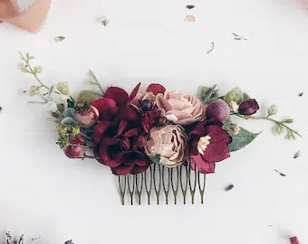 burgundy flower hair comb deep red bridal hair comb wedding hair comb bridal flower headpiece wedding headpiece winter wedding