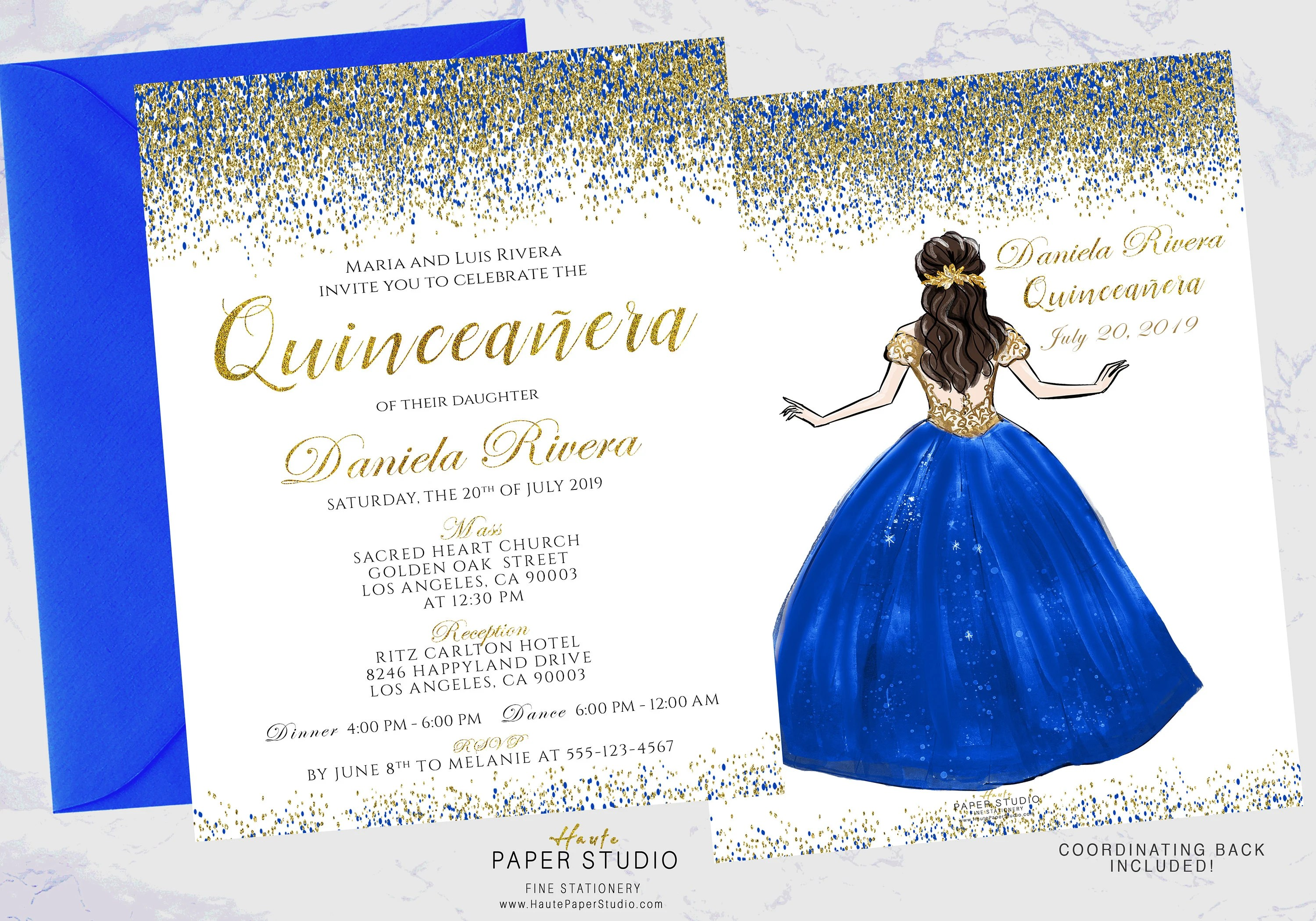 Royal Blue Quinceanera Invitation Personalized Silver