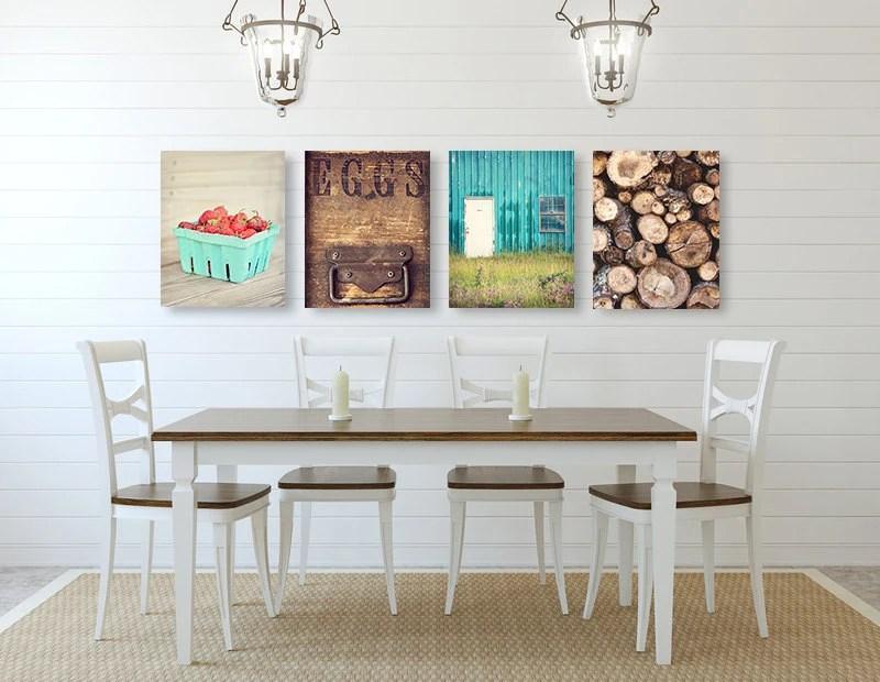 kitchen art decor miami cabinets farmhouse wall set of four prints or etsy image 0