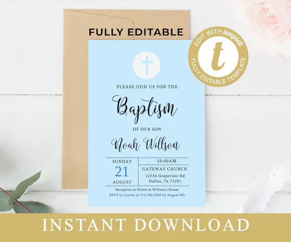 printable baptism invitation template