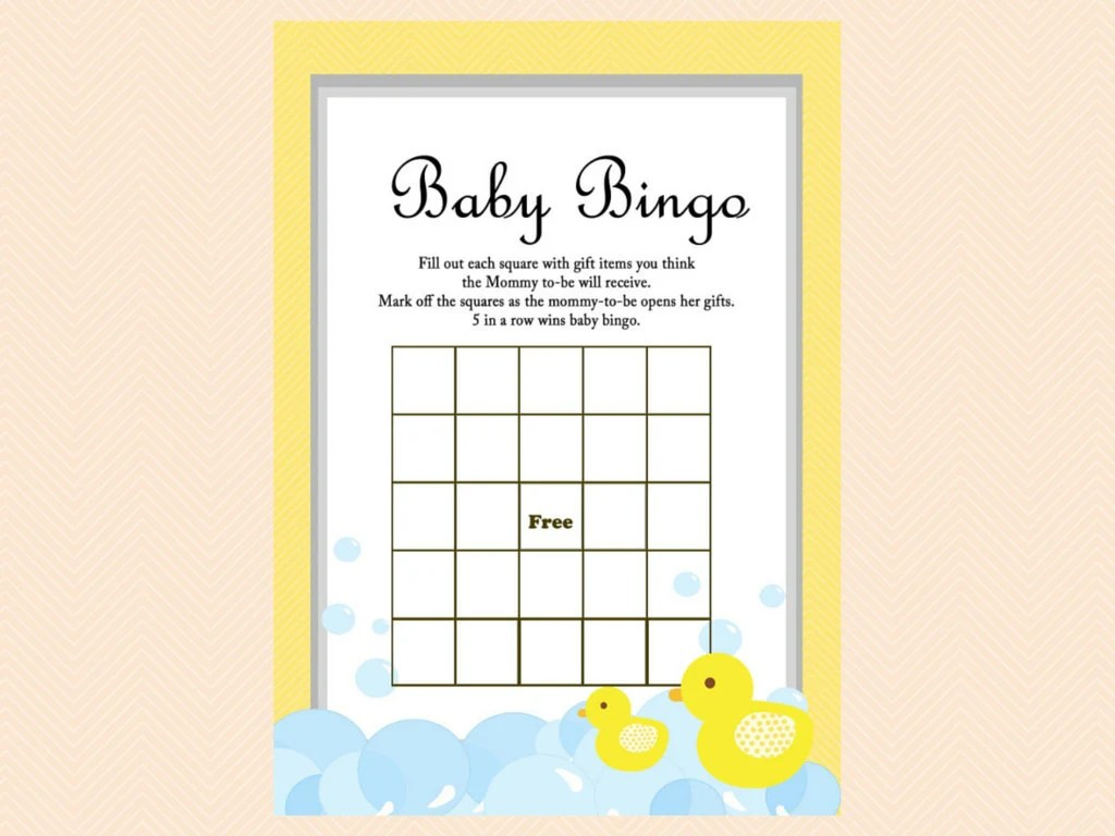 Baby Bingo Baby Bingo Cards Duck Theme Rubber Duck Baby