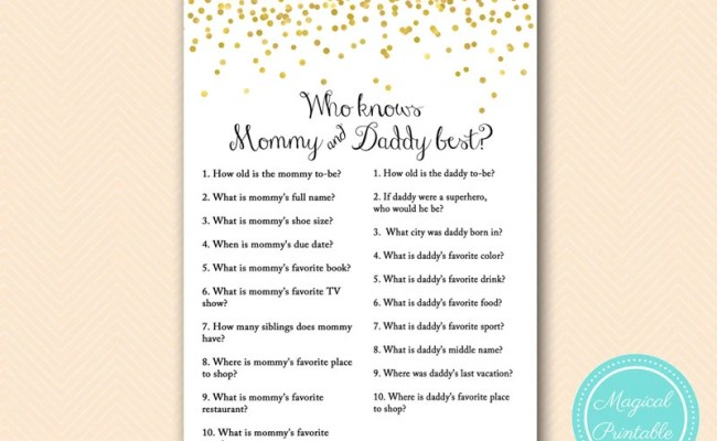 Who Knows Mommy Daddy Best Coed Game Gold Baby Shower Baby