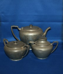 Rare Antique Wallace Pewter Coffee Set Teapot Creamer And