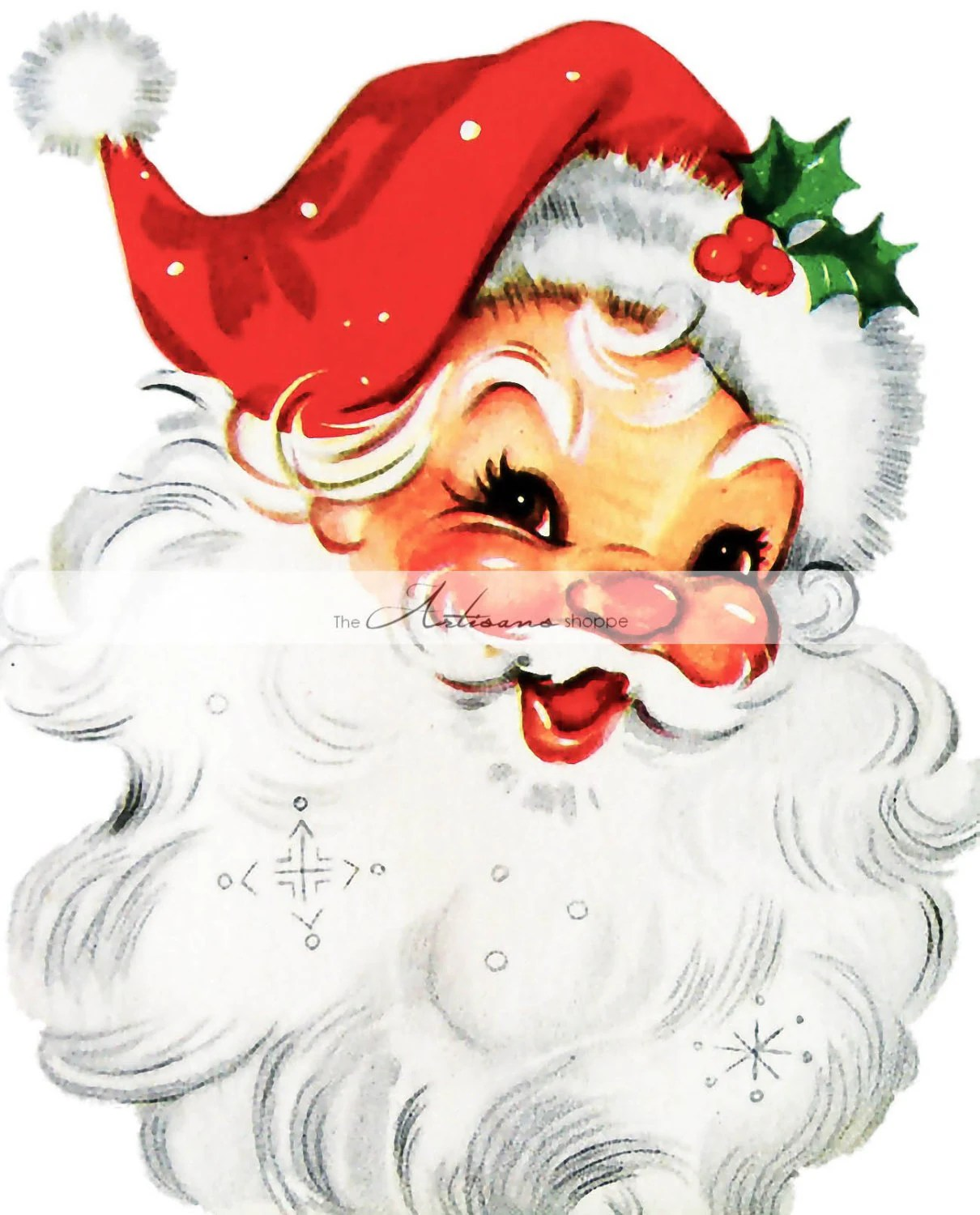 Vintage Jolly Santa Claus Image Digital Download Printable