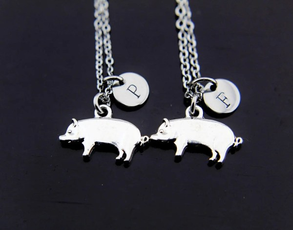 Friends Necklace Silver Pig Charm Charms