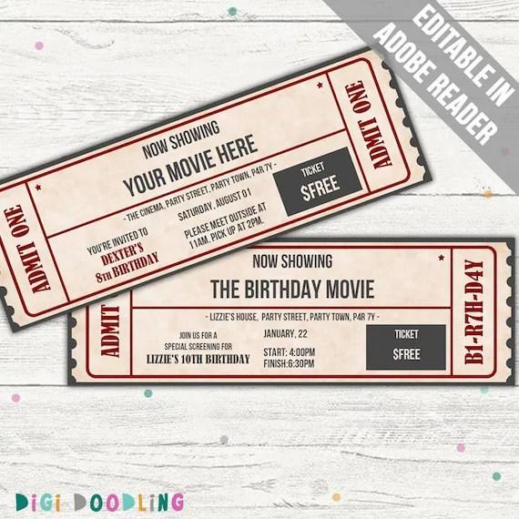 modele de billet de film invitation de film modele de billet d evenement pdf modifiable imprimable telechargement instantane