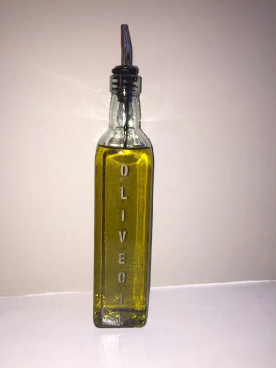oil dispenser kitchen remoldeling etched glass olive pourer etsy image 0