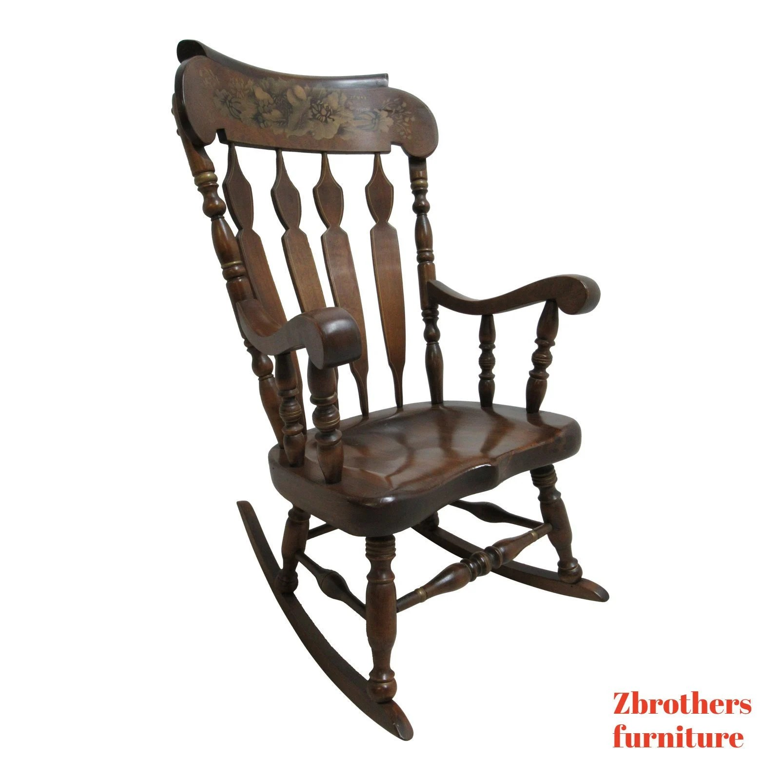 rocking chair height that turns into a bed shark tank vintage rocker lz kamman co pine hitchock paint etsy image 0