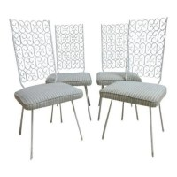 4 Mid Century Wrought Iron Outdoor Patio Dining Side Chair ...