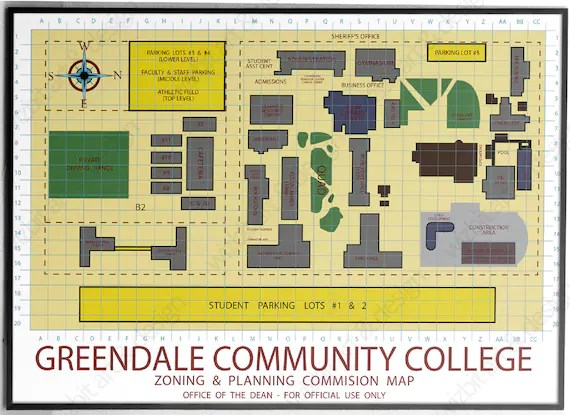 Greendale Community College Map Be your own Dean print / | Etsy
