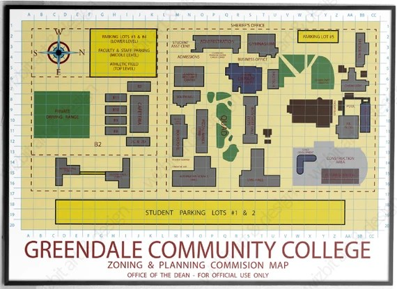 Greendale Community College Map Be your own Dean print /   Etsy