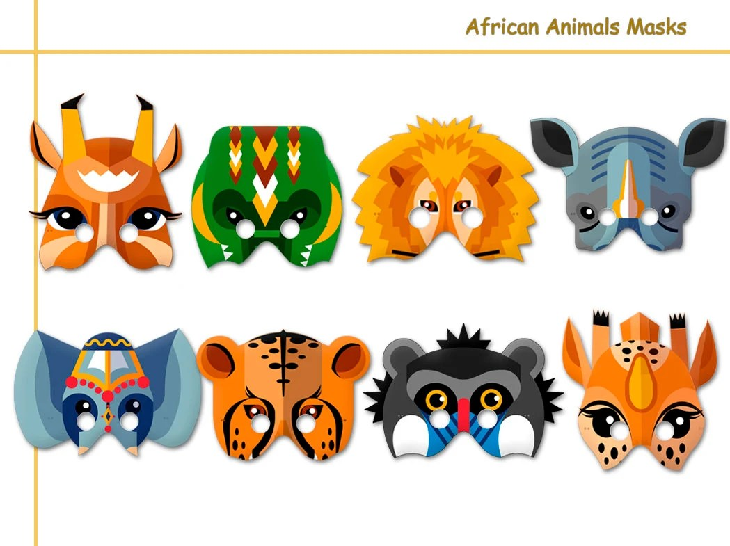 African Animals Printable Masks Costumes Paper Masks