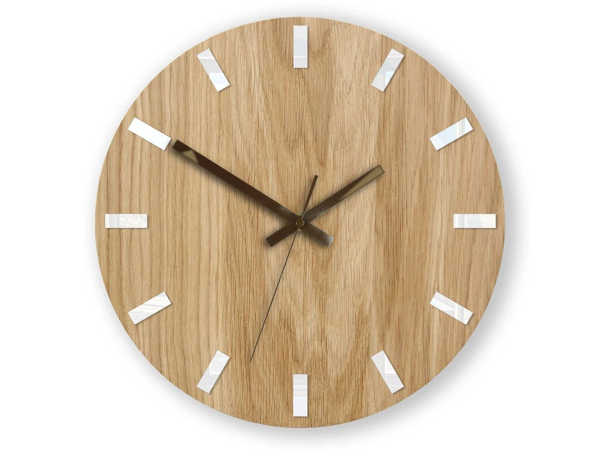 Wall Clock, Geometric Wall Clock, Modern Clock, Wooden