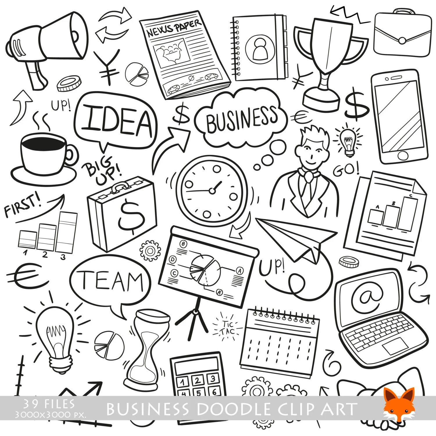 Business Financial Work Doodle Icons Clipart Scrapbook Set