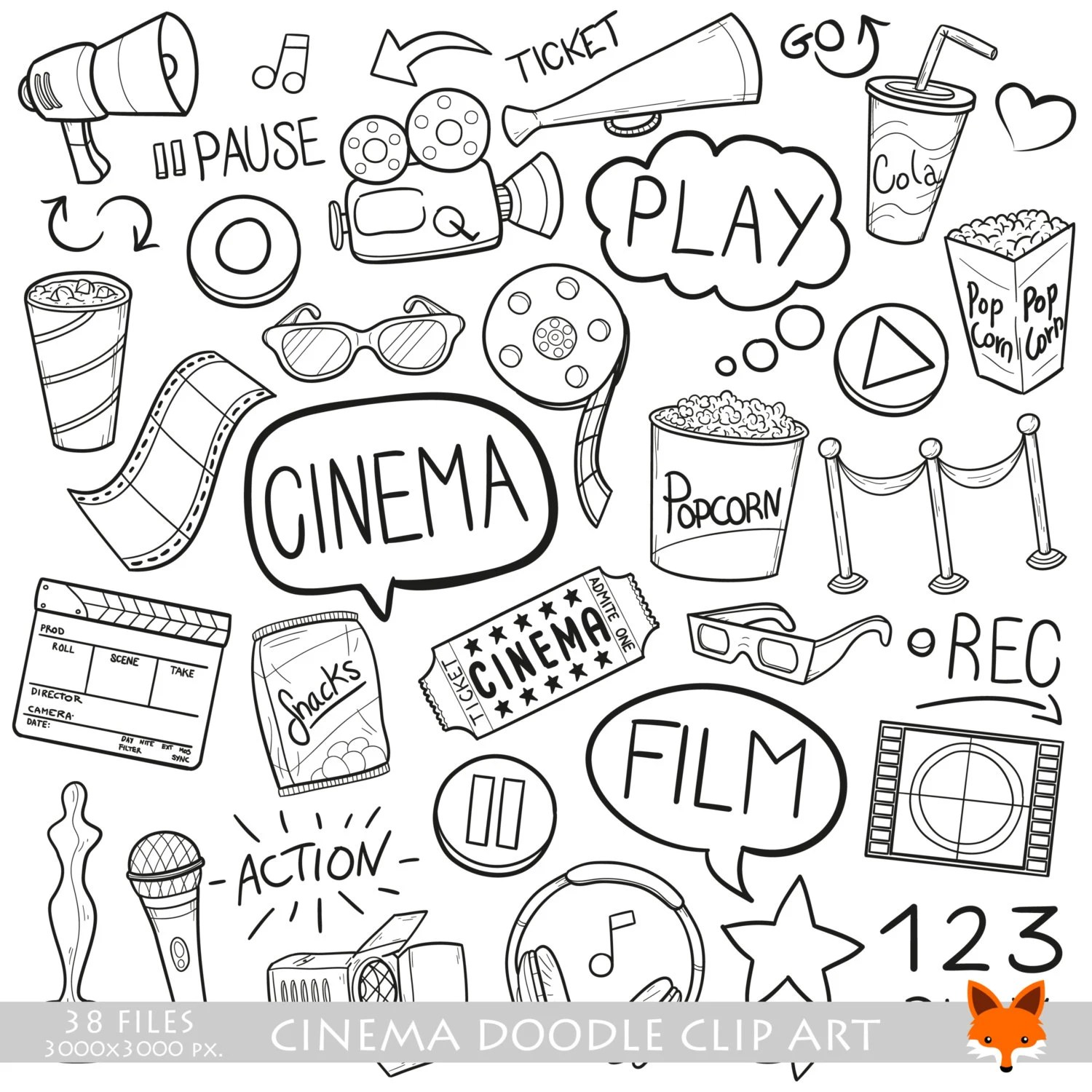 Cinema Day Film Family Friends Time Doodle Icons Clipart