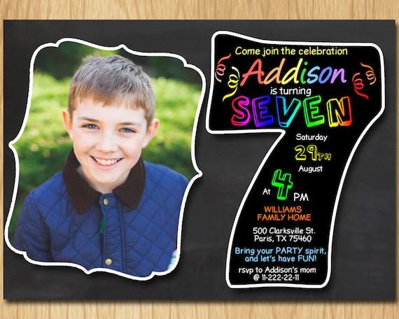 7th birthday invitation chalkboard