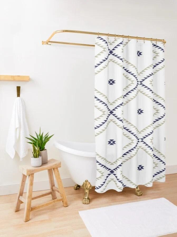 shower curtain navajo pattern tan