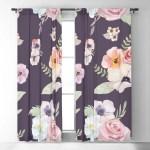 Window Curtains Watercolor Floral I Eggplant Pink 50 X 84 Or 96 Length Blackout Or Sheer Rod Pocket Bedroom Nursery Playroom