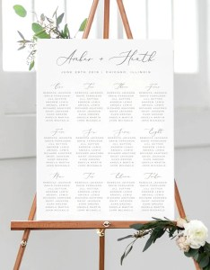 Calligraphy seating chart printable wedding template poster edit in templett amber also etsy rh