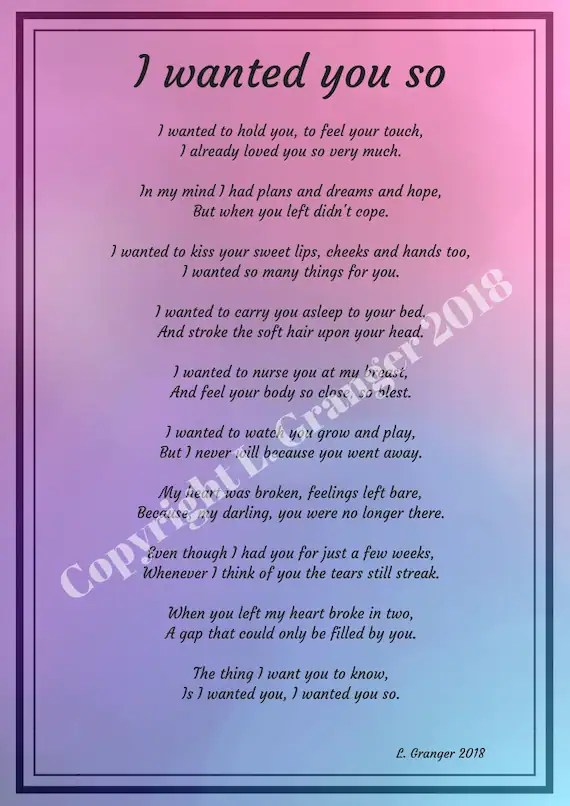 Baby Loss Poem : Wanted, PINK/PURPLE, Miscarriage
