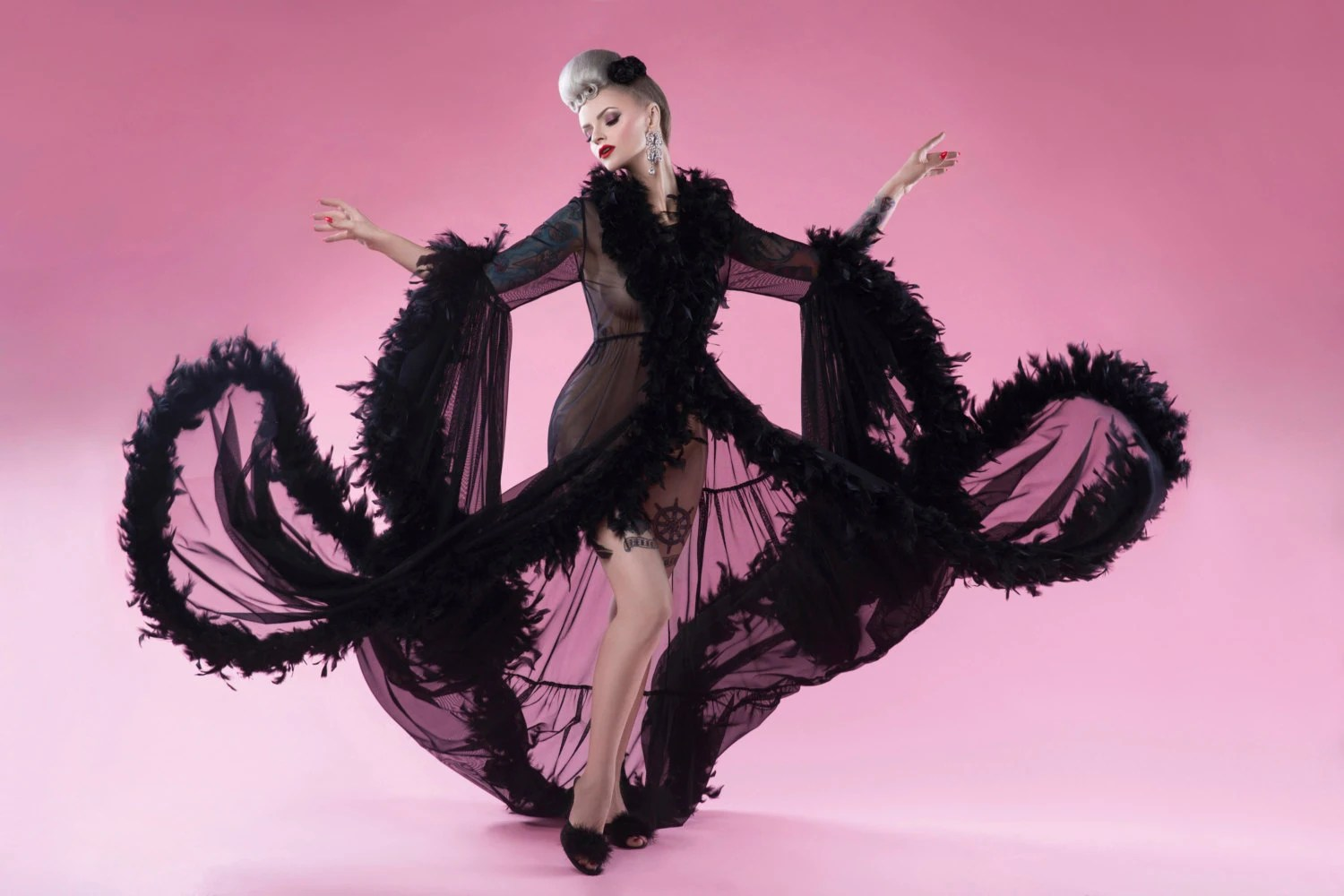 Black Burlesque Feather Robe Sheer Dressing Gown Pin Up