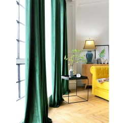 Green Curtains For Living Room Kitchen To Window Pair Of Emerald Velvet Bedroom Etsy Image 0