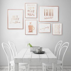 Art For Kitchen Banquettes Sale Etsy Set Of 6 Prints Coffee Poster Decor Rose Gold Foil Print Home Wall