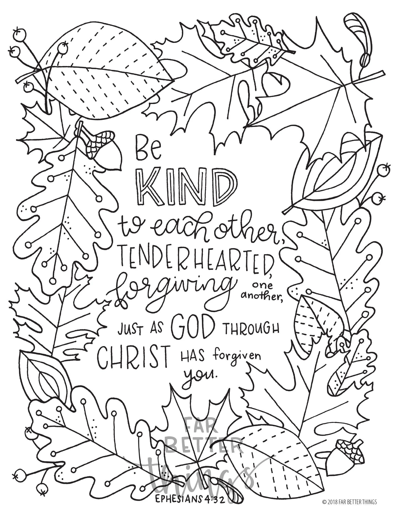 Bible Verse Coloring Page Ephesians 4:32 Printable Digital