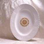 Gold Medallion Enoch Wedgwood Tunstall Ltd England Trademark Founded In 1835 Beautiful Gold Medallion Design On White Serving Platter