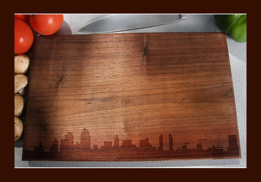 kitchen gifts for mom water filter san diego skyline cutting board handmade california city silhouette chopping realtor gift