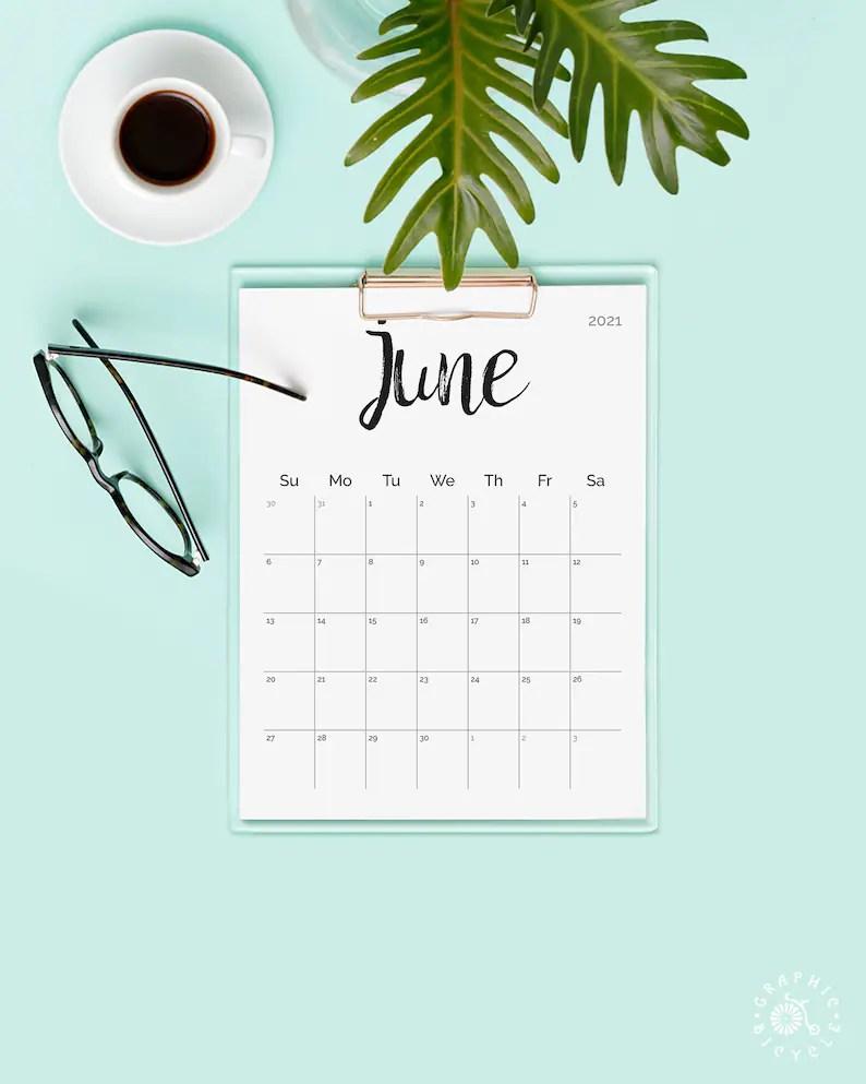 Printable Calendar 2021 2022 Desk Calendar PDF Download | Etsy