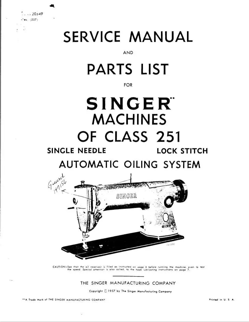 Singer Sewing machine model 251 Industrial Service manual