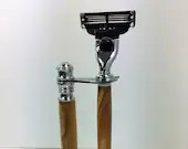 Olive Wood Shaving Set with Mach 3 Razor and Stand, Handcrafted