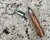 Olive Wood Detachable Mini Pen Key Ring / Key Chain with chrome ring, Handcrafted