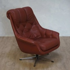 Swivel Chair Em Portugues Cleveland Company Etsy Vintage Red Brown Leather Armchair
