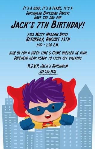super hero kid invitation