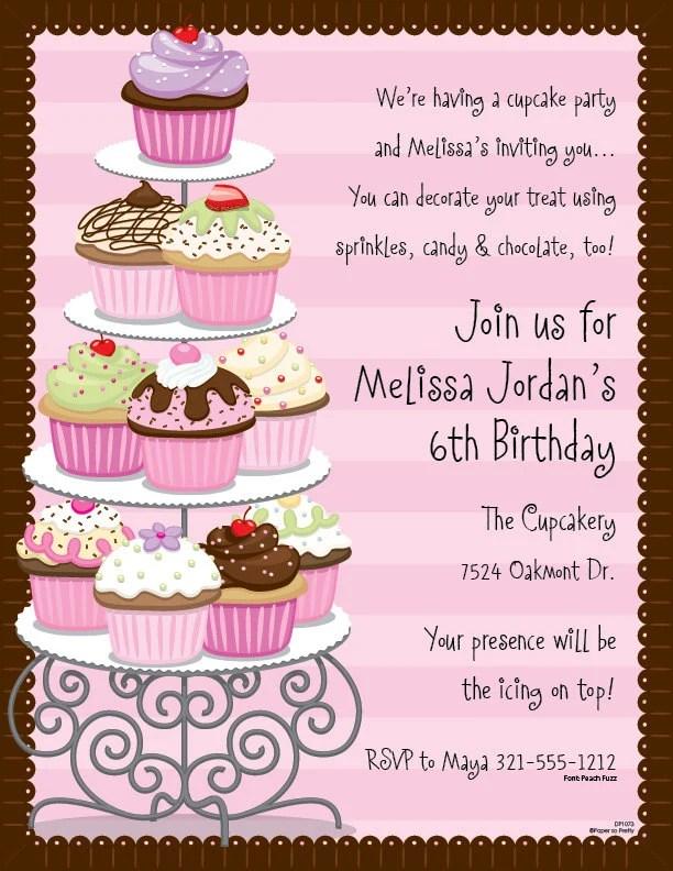 cupcakes celebration invitation birthday