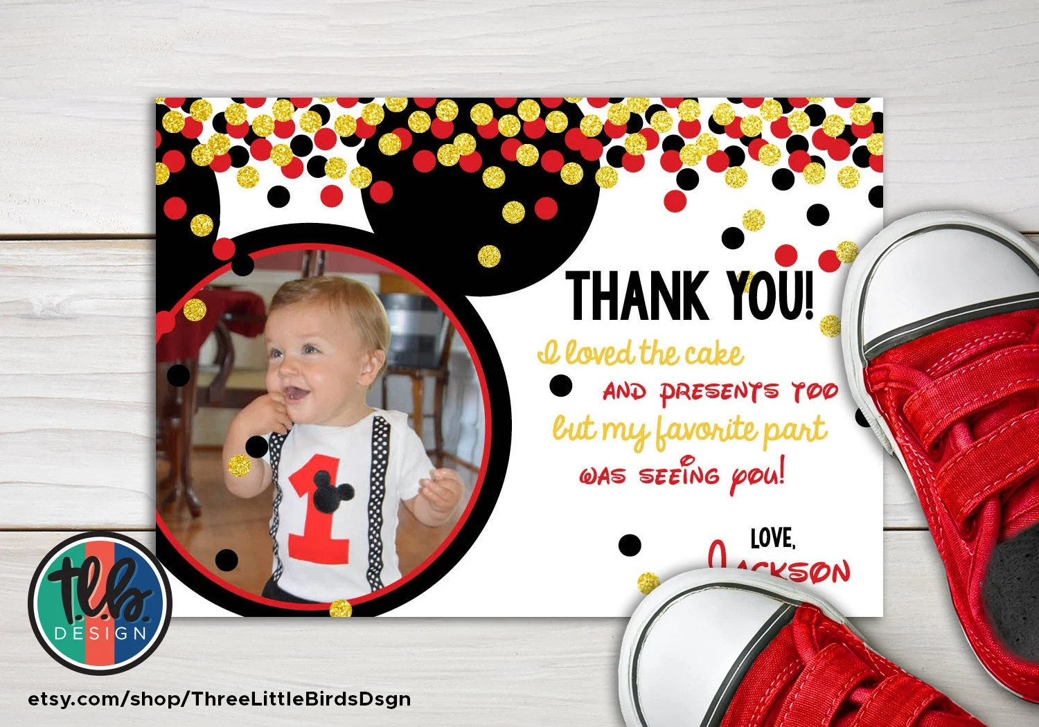 Mickey Mouse First Birthday Thank You Card With Photo Gold