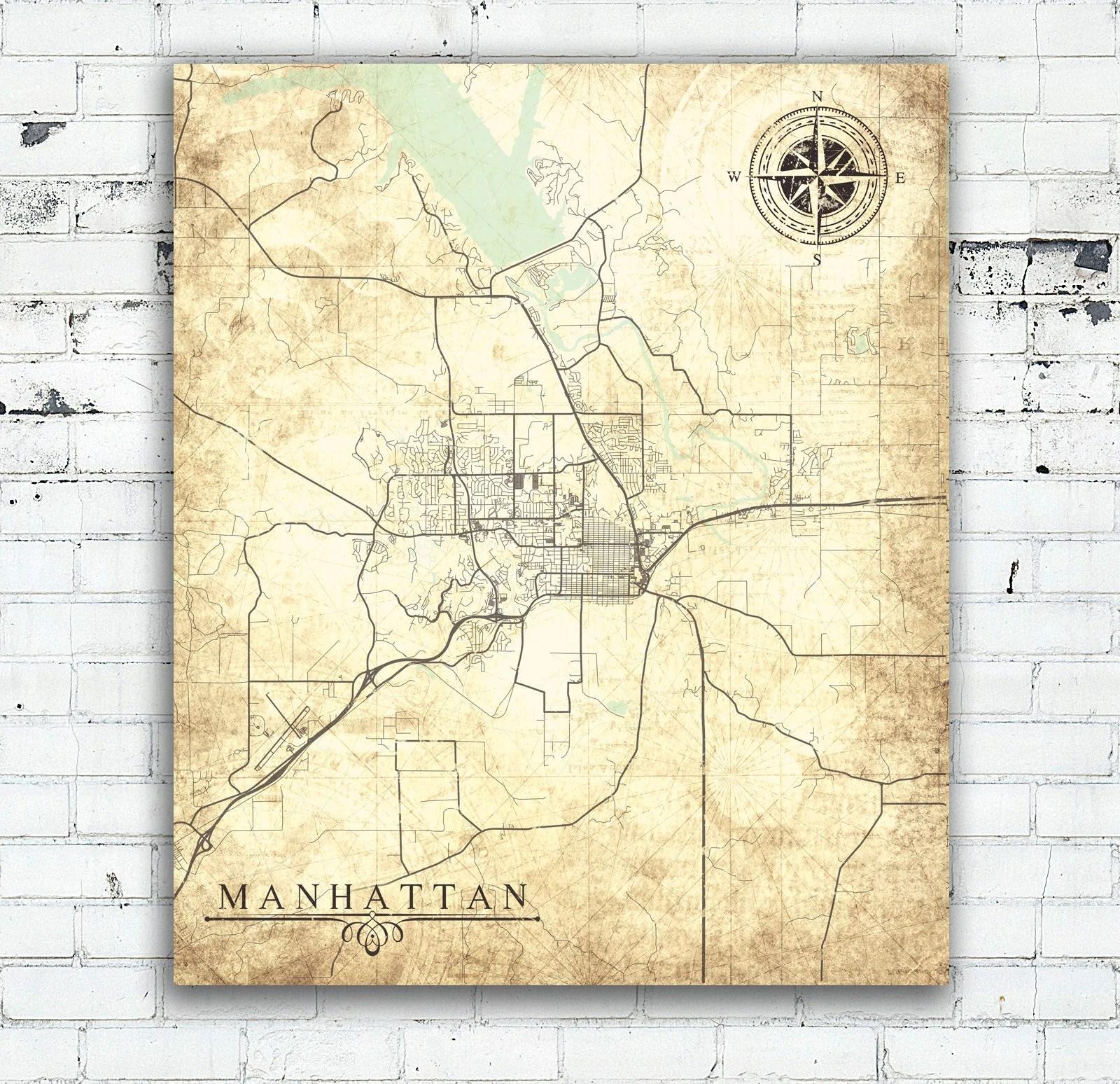 MANHATTAN KS Canvas Print Kansas Manhattan Ks City Vintage ...