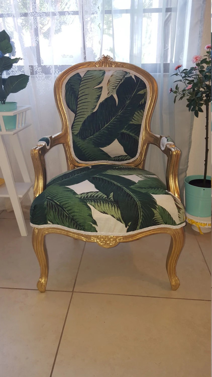 Antique Accent Chairs Chair Antique Louis Xv Accent Chair Gold Frame And Banana Leaf Upholstery Tommy Bahama Fabric