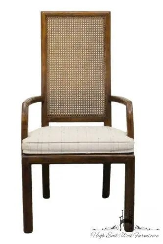 Henredon Chair Henredon Scene One Campaign Style Cane Back Arm Chair 9101 27