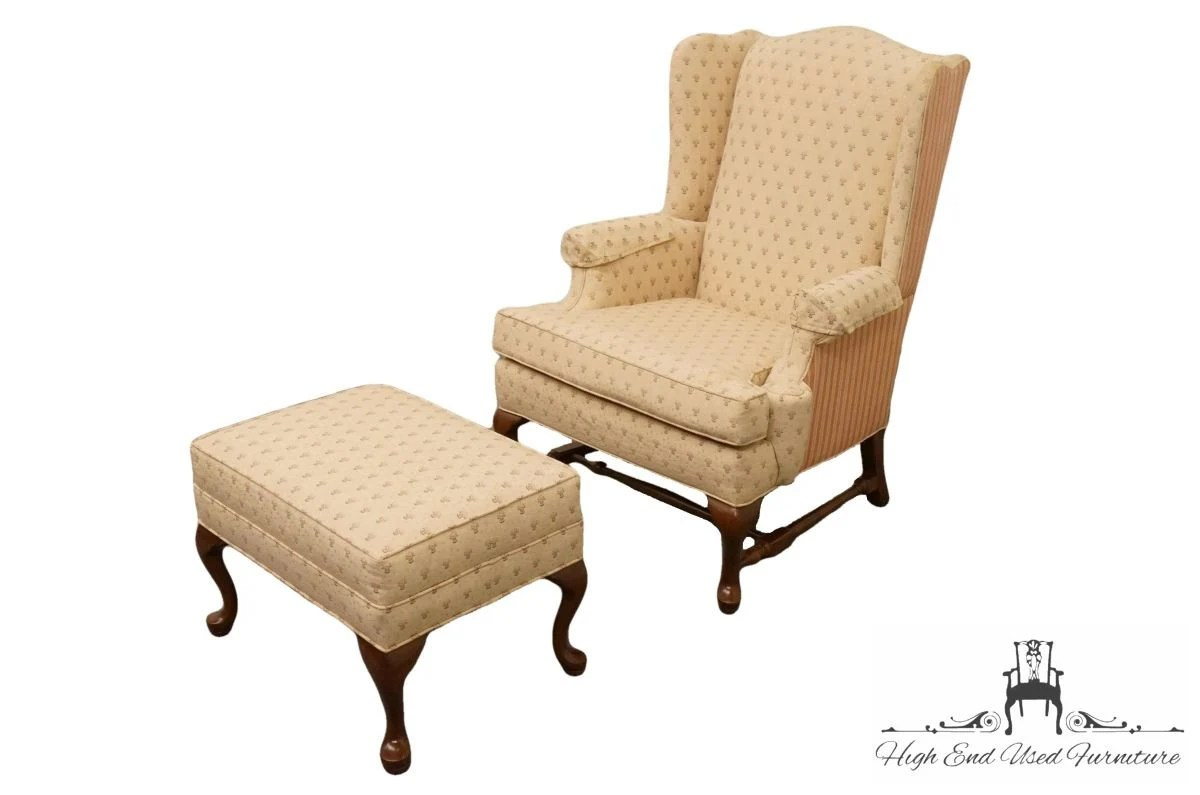 ethan allen wingback chairs toys r us chair accent arm w matching ottoman etsy image 0
