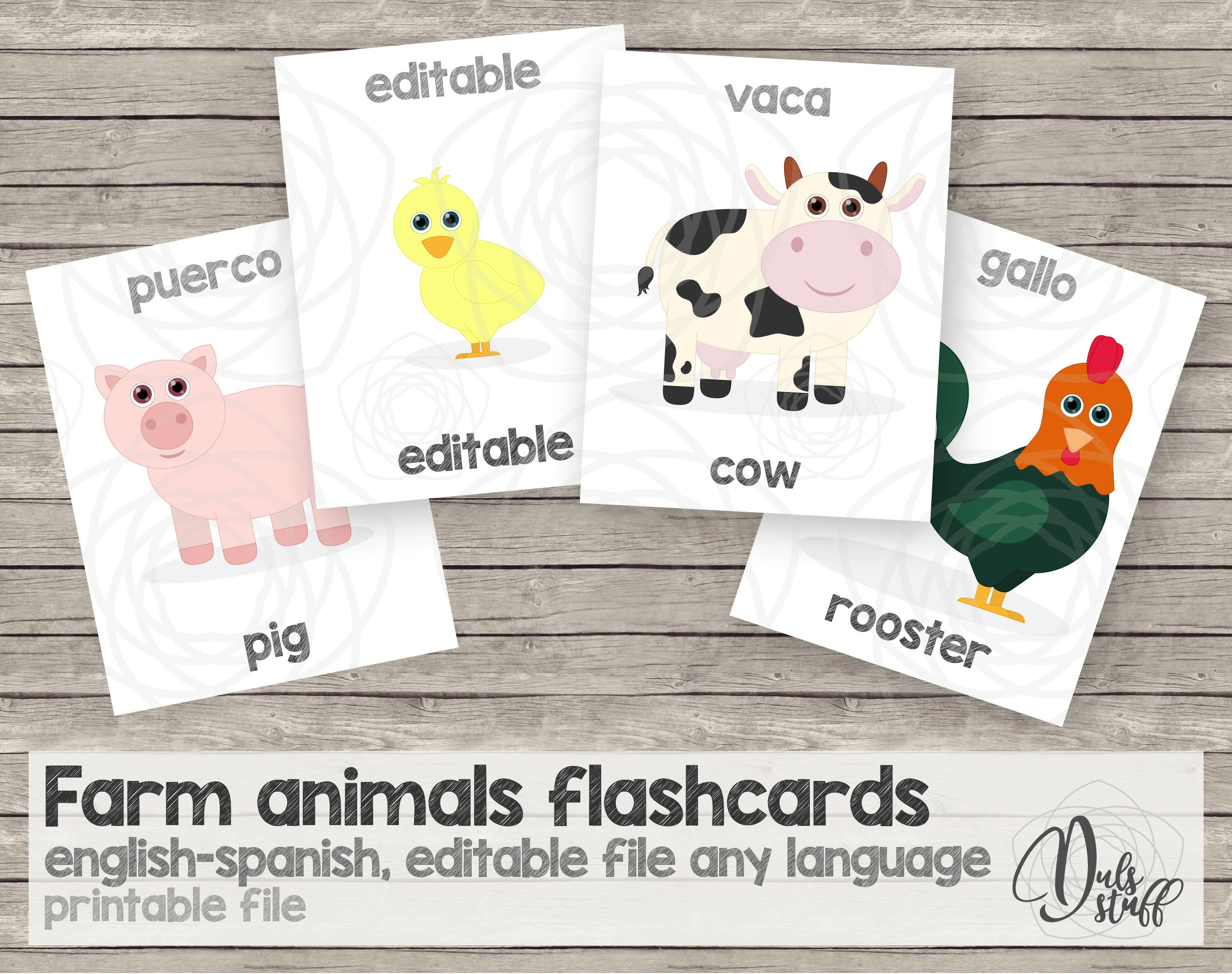 Printable Kids Farm Animals Flash Cards English And
