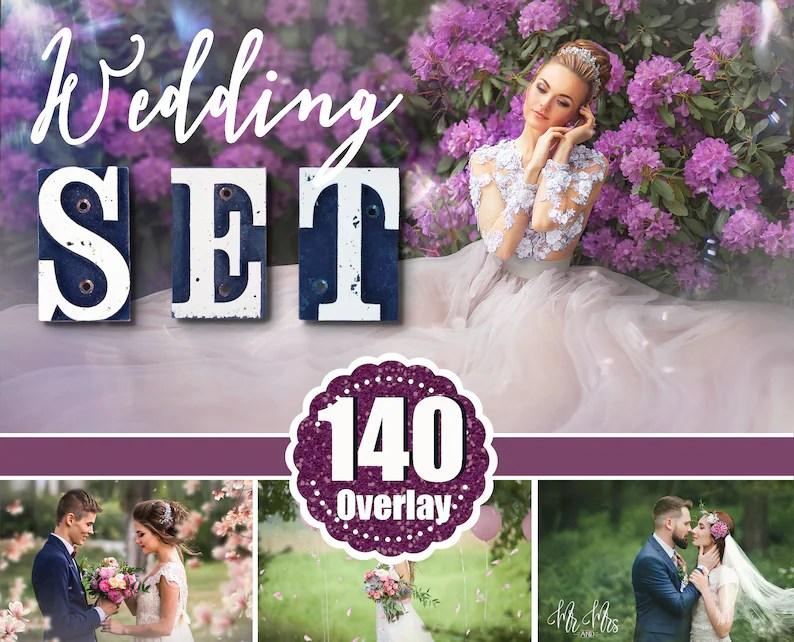 140 Wedding Set Photoshop Overlay Flower Branch Bokeh Sky