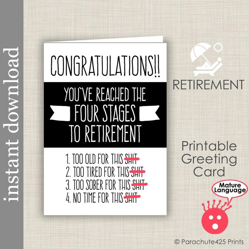retirement card printable card