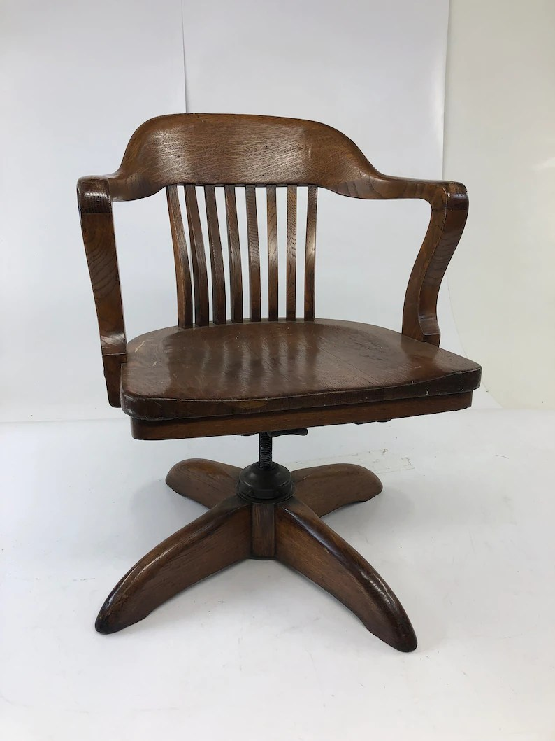 Wooden Bankers Chair Vintage Wood Office Chair Swivel Arm Banker Desk Courthouse Lawyer Antique Arm Mission Oak Wooden Slat Slatback Living Room Gunlocke Sikes