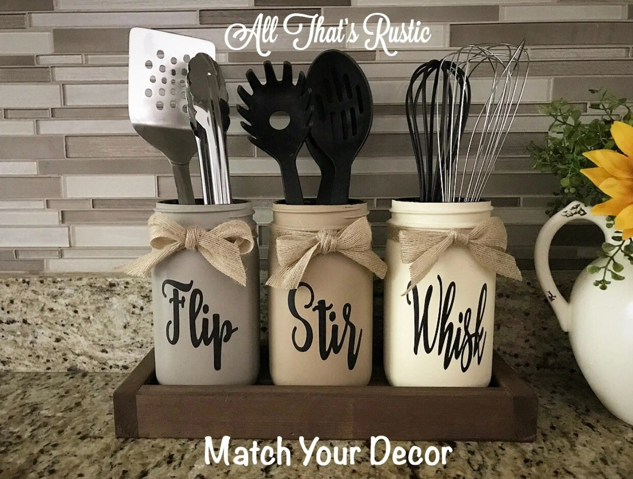 kitchen deco sprayer decor etsy flip stir whisk utensil holder mason jar rustic