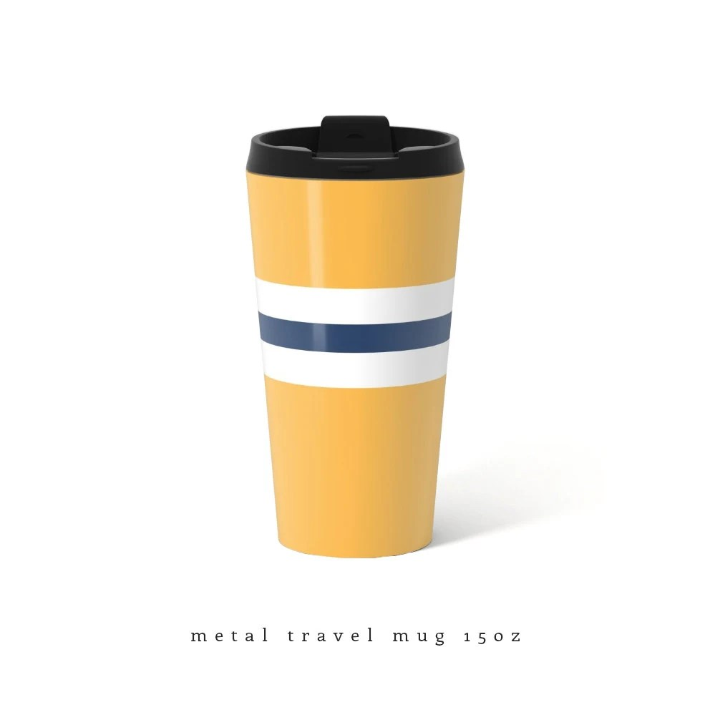 yellow travel mug metal