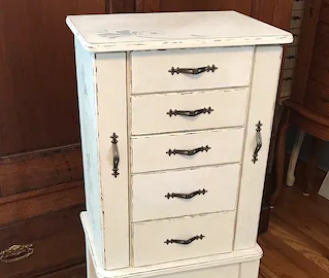 Shabby Chic Jewelry Armoire Upcycled Vintage Jewelry Storage French Country Chalk Painted Wooden Jewelry Organizer Womens Gifts