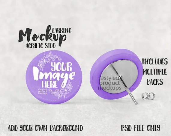 Download vinyl earring mockup set, psd & jpg, for svg or sublimation (293226) today! Acrylic Disc Stud Earring Mockup Template Add Your Download Free T Shirt Mockups Psd Templates